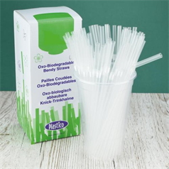 Oxo-Biodegradable Straws - Clear - 8""