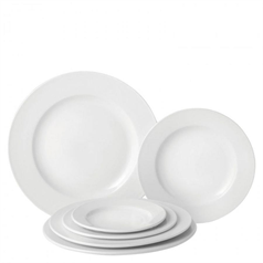 Wide Rimmed Plate - White - 25cm