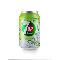 diet 7up, 7up free, low calorie, no sugar, lemon and lime, fizzy soft drink, cans, refreshing