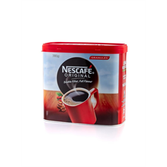 nescafe, instant coffee, fast, easy to use, convenient, granuales, big tin, brand