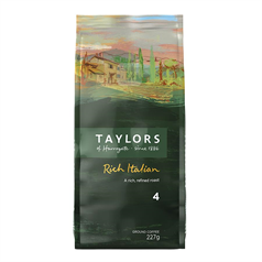 taylors of harrogate, rich italian ground coffee, roasted and ground beans, arabica,