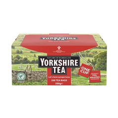 yorkshire tea envelope tea bags, quality, rainforest alliance certified, individually sealed, workplace,