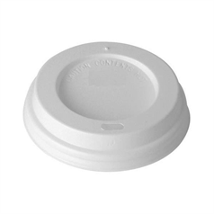 White Domed Sip Thru Lid for 8oz Cup