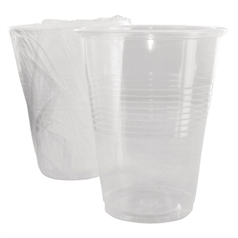 wrapped tumblers, clear, disposable plastic, hotels, recycled, hygienic
