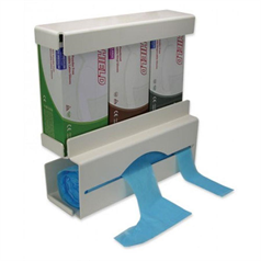 glove, apron dispenser, compact, hygienic, wall mountable, large capacity