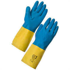 Bi-Coloured Heavyweight Glove  - Yellow & Blue - Medium