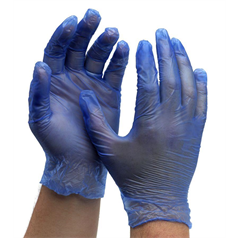 Powdered Vinyl Gloves - Blue - Small