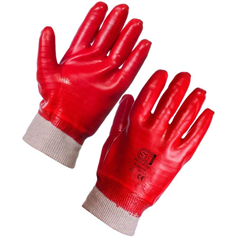 PVC Fully Coated Knit Wrist Gloves - Red
