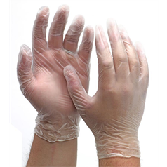 Powdered Vinyl Gloves - Clear - Small