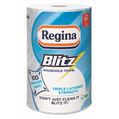 regina blitz, kitchen roll, tough stains, wiping, drying, extra large sheets,